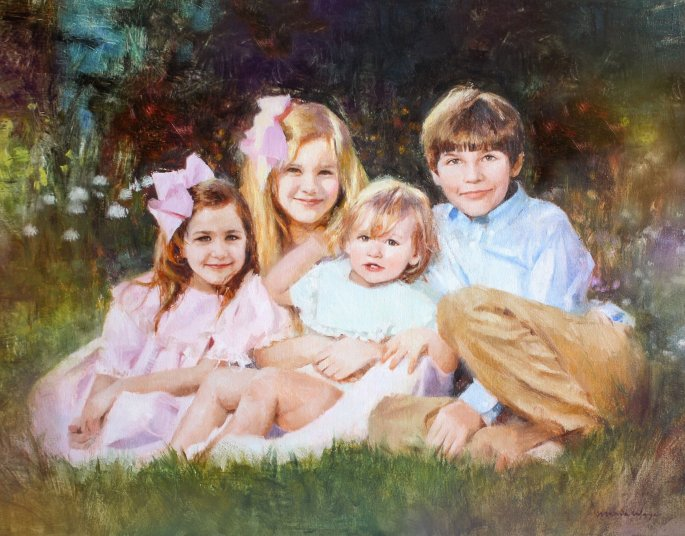 Denna bild har ett alt-attribut som är tomt. Dess filnamn är custom-family-portrait-oil-painting-maria-waye-four-children-family-fine-art-garden-daughters-sons-brothers-sisters-sfwgood.jpg