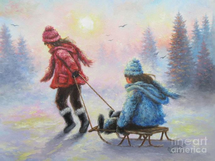 Denna bild har ett alt-attribut som är tomt. Dess filnamn är two-sisters-sledding-vickie-wade.jpg