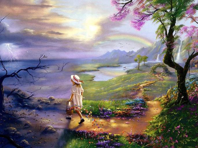 Denna bild har ett alt-attribut som är tomt. Dess filnamn är girl-flowers-sky-rainbow-beautiful-tian-chen.jpg