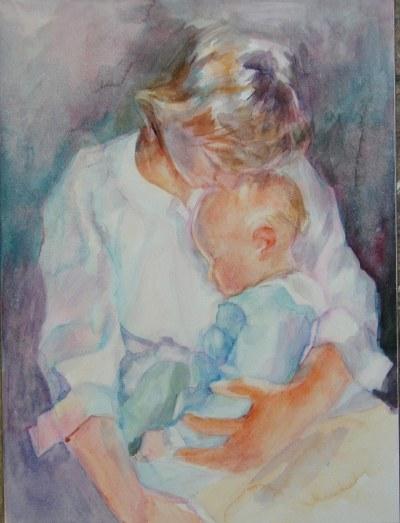 mother child watercolor custom