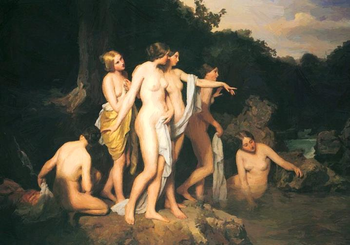 Denna bild har ett alt-attribut som är tomt. Dess filnamn är women-bathing-at-the-brook-ferdinand-georg-waldmuller.jpg